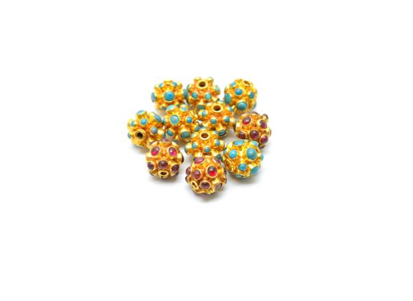 18K Solid Yellow Gold Round Shape 10X10 mm Bead With Stone.