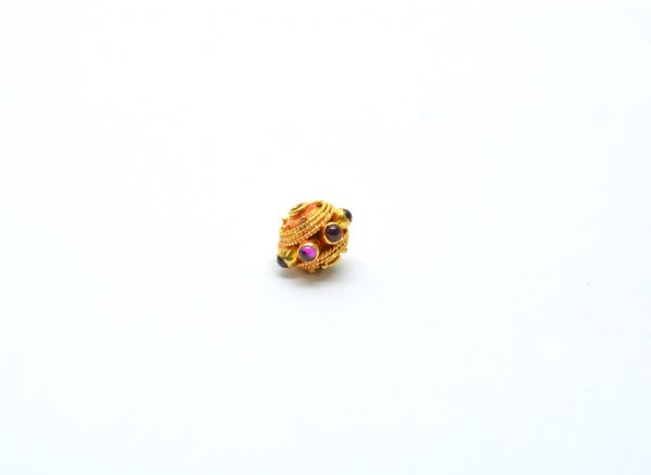 18K Solid Yellow Gold Roundel Shape 9X11 mm Bead With Stone