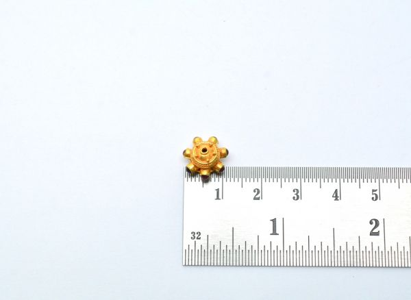 18K Solid Yellow Gold Roundel Shape 11X8 mm Bead With Stone.