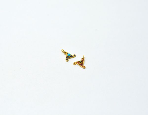 Beautiful 18k Solid Yellow Gold Triangle Enamel 11x10mm Charms Pendant 1