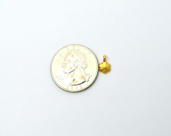 18K Solid Yellow Gold Handmade  Flower Shape Plain Finished,10X6X2mm Charm Pendant