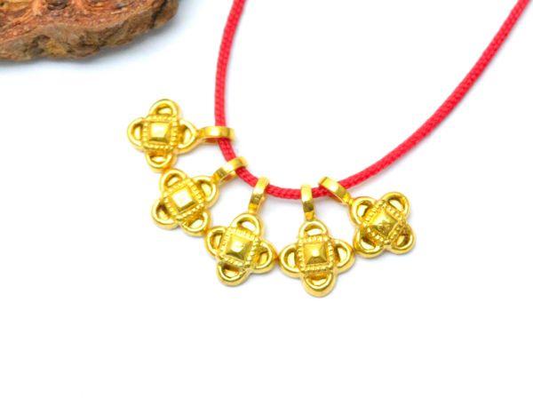 18K Solid Yellow Gold Handmade  Flower Shape Plain Finished, 9x6x2mm Charm Pendant