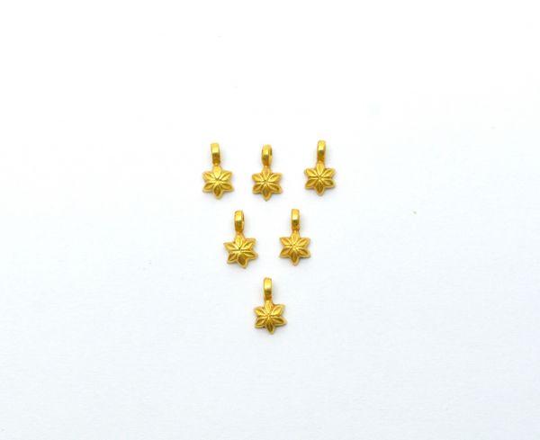 18K Solid Yellow Gold Handmade  Flower Shape Plain Finished,7x4x2mm Charm Pendant