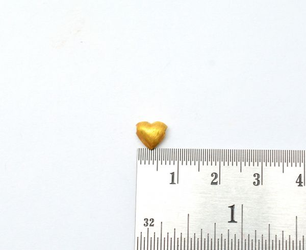 18K Handmade Solid Yellow Gold Heart Beads in Matt Finish. 7.5X7X4 mm Amazingly Crafted Beads in 18k Solid Gold, Sold By 1pcs