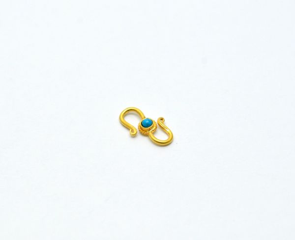 Beautiful 18k Solid Yellow Gold S-Clasp With Hydro Stones. Handmade And Very Lightweight 18k Gold S-Clasp. Sold By 1 pc