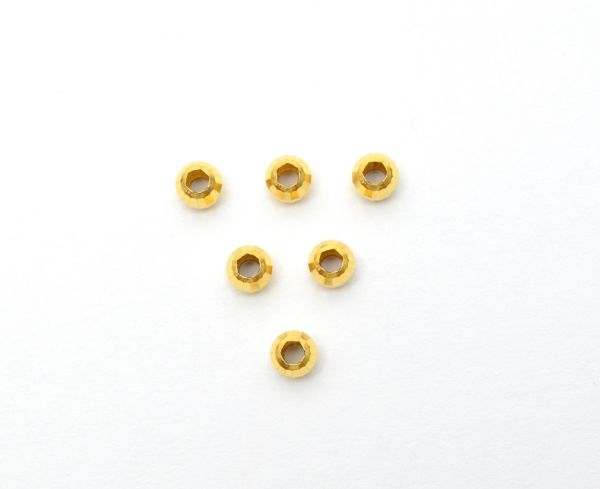 Amazingly Handmade 18k Solid Yellow Gold Round Beads. Beautiful 4X5 mm Beads in 18k Solid Gold in Shiny Finish, (Sold By 2 Piece)