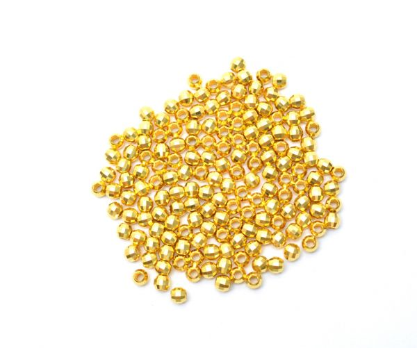 18K Handmade Solid Yellow Gold Round Beads. 4X3.5 mm Amazingly Crafted Round Beads in 18k Solid Gold, (Sold By 4 Pcs)