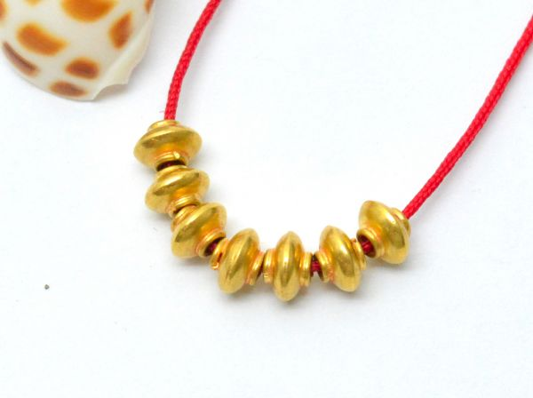 Beautiful 18k Solid Yellow Gold Drum Beads in Fine Matt Finish. 5X3.5mm Handmade 18k Gold Beads Perfect For Mala Necklace, (Sold By 2 Pcs)