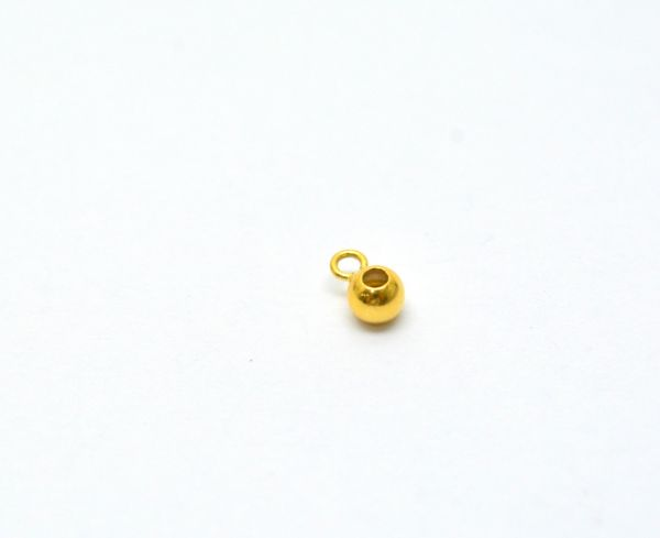 Handcrafted 18k Solid Yellow Gold Round Charm Pendent. Beautiful 6X4mm Charm Pendent in 18k Solid Gold in Shiny Finish,Sold By 2pcs