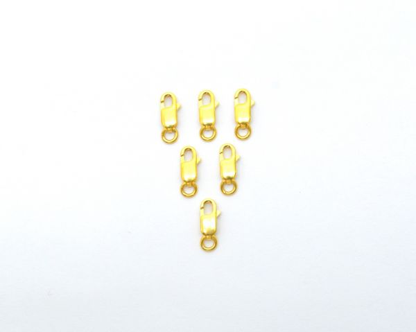 Amazing 18K Yellow Gold Handmade Lobster Lock in Matt Finish. 11X4 mm Beautiful Lobster Lock In Solid 18k Yellow Gold. Sold by 1 pcs