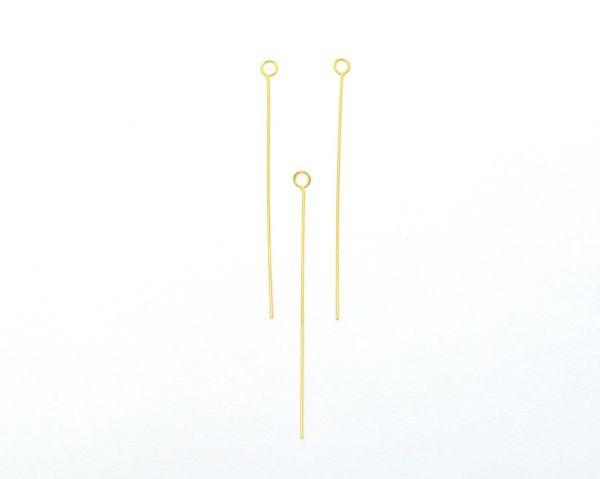 Beautiful 18k Solid Yellow Gold Pin. 5 cm Long Handmade 18k Gold Pin in Matt Finish. (Sold By 2 Piece)