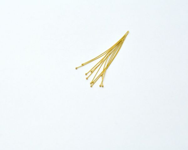 18K Handmade Solid Yellow Gold Head Pin. 5.2 Cm. Long Amazingly Crafted Head Pin in 18k Solid Gold, (Sold By 2 Piece)