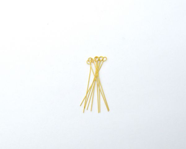Handcrafted 18k Solid Yellow Gold Pin in Matt Finish. Beautiful 3.7 Cm Long Pin in 18k Solid Gold, (Sold By 2 Piece)
