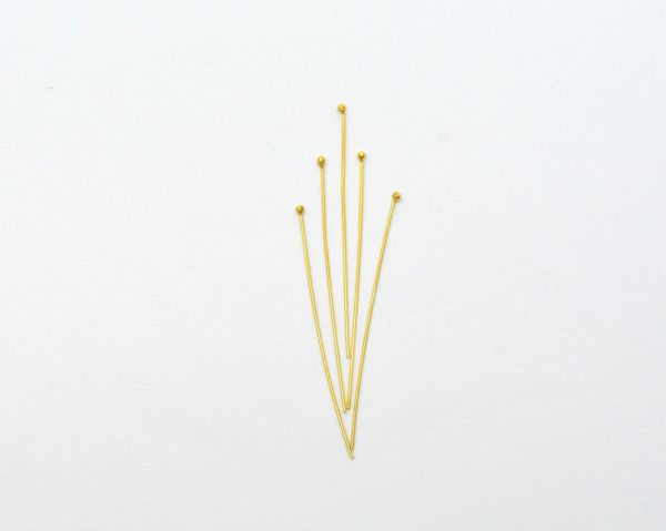 Stunning 18k Yellow Gold Head Pin, Beautiful 3.9 Cm Long Head Pin Handmade 18k Solid Yellow Gold in Matt Finish, (Sold By 2 Piece)