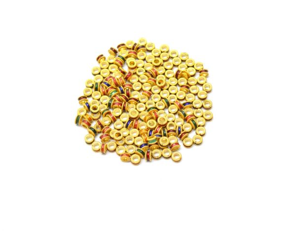 Amazingly Handmade 18k Solid Yellow Gold Fancy Round Beads. Beautiful 9X2 mm Beads in 18k Solid Gold in Shiny Finish, Sold By 1pcs