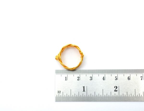 18k Solid Yellow Gold Free Size Ring with Stone