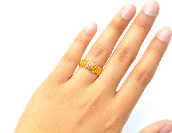 Amazingly Handmade 18k Solid Yellow Gold Free Size Ring Studded With Hydro Stones. Beautiful Ring in 18k Solid Gold, Sold By 1pcs