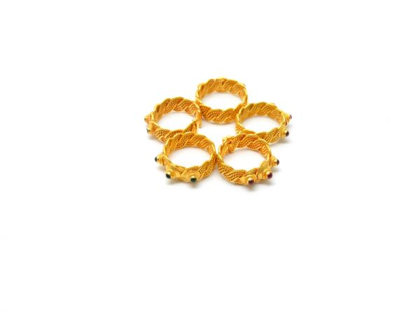 18K Handmade Solid Yellow Gold Ring Studded With Hydro Stones. Amazingly Crafted Free Size Ring in 18k Solid Gold, Sold By 1pcs