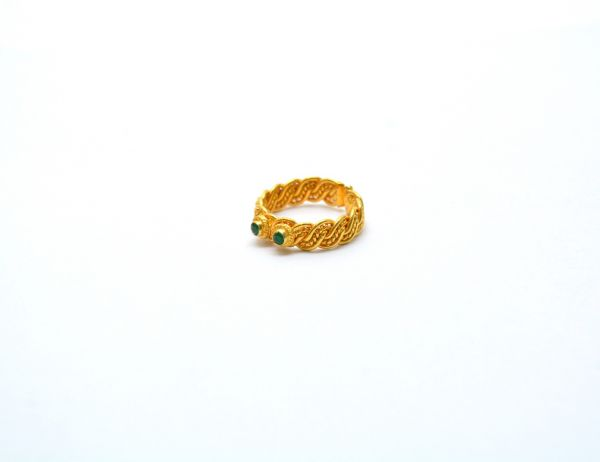 Amazing 18K Yellow Gold Handmade Free Size Ring With Hydro Stones. Beautiful Ring Studded With Stones in Solid 18k Yellow Gold.Sold by 1 pcs