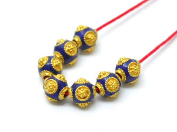 Beautiful 18k Solid Yellow Gold Enamel Drum Bead. 7x6.5 mm Handmade 18k Gold Enamel Beads in Shiny Finish. Sold By 1 pcs