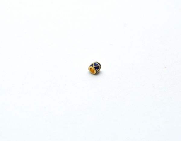 Beautiful 18k Solid Yellow Gold Enamel Drum Bead. 5x5mm Handmade 18k Gold Enamel Beads in Shiny Finish. Sold By 1 pcs