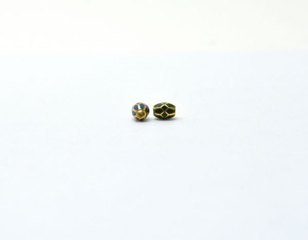 18K Handmade Solid Yellow Gold Fancy Drum Beads in Shiny Finish, 6x5mm Amazingly Crafted in 18k Gold Enamel Bead, Sold By 1pcs