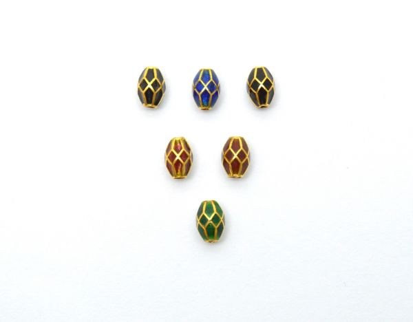 Handcrafted 18k Gold Enamel Fancy Drum Beads in Shiny Finish. Beautiful 7X5 mm Bead in 18k Solid Gold, Sold By 1pcs