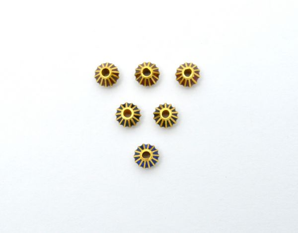 Beautiful 18k Solid Yellow Gold Enamel Drum Bead. 6x5mm Handmade 18k Gold Enamel Beads in Shiny Finish. Sold By 1 pcs