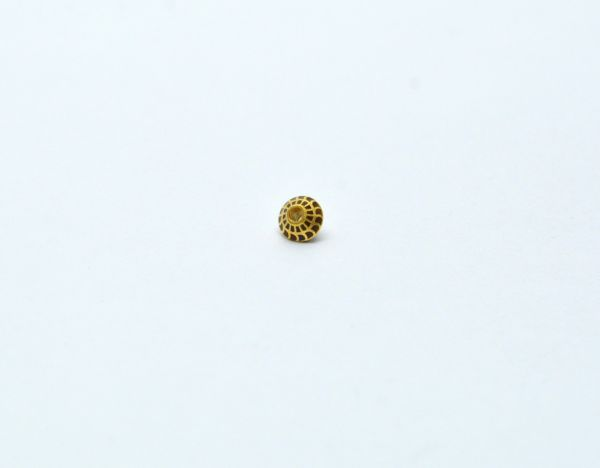 Handmade 18k Gold Enamel Fancy Drum Bead in Fine Shiny Finish. 6X4 mm Amazingly Handcrafted in 18k Gold Enamel Bead, Sold By 1pcs