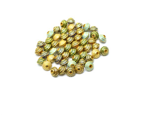 18K Handmade Solid Yellow Gold Fancy Drum Beads. 7x5mm Amazingly Crafted Beads in 18k Gold Enamel Bead in Shiny Finish, Sold By 1pcs