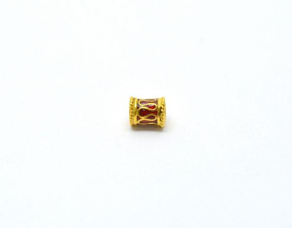 Handmade 18k Gold Enamel Bead Fancy Drum Bead in Fine Shiny Finish.7X6 mm Amazingly Handcrafted in 18k Gold Enamel Bead,Sold By 1pcs
