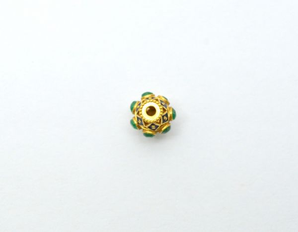 Handmade 18k Solid Yellow Gold Fancy Drum Beads Studded With Hydro Stones.Amazingly Handcrafted Round Beads in 18k Solid Gold