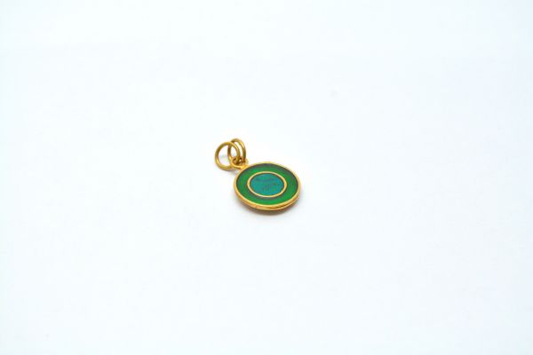 Amazing 18K Gold Enamel Bead Round Pendent in Shiny Finish. 17X13mm Beautiful Charms Pendent in Solid 18k Yellow Gold.Sold by 1 pcs