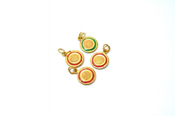 Amazingly Handmade 18k Gold Enamel Bead Round Pendant in Shiny Finish. 17X13mm Beautiful Pendant in 18k Solid Gold, Sold By 1pcs