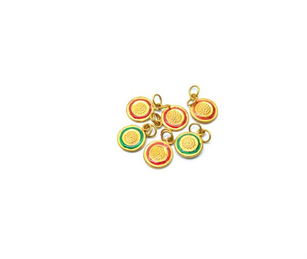 18K Handmade Solid Yellow Gold Round Pendent in Shiny Finish. 16X12mm Amazingly Crafted Charms Pendent in 18k Gold Enamel Bead, Sold By 1pcs