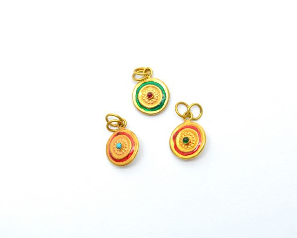 Handmade 18k Gold Enamel Round Pendant in Fine Shiny Finish. 16X12 mm Amazingly Handcrafted Charm in 18k Gold Enamel Bead,Sold By 1pcs