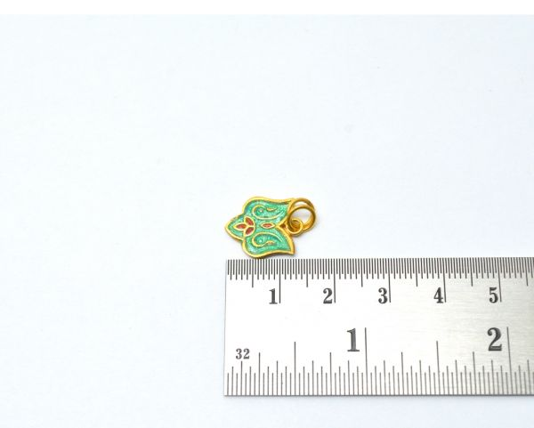 18k Solid Yellow Gold Enamel Pendenat Bead 15X12mm