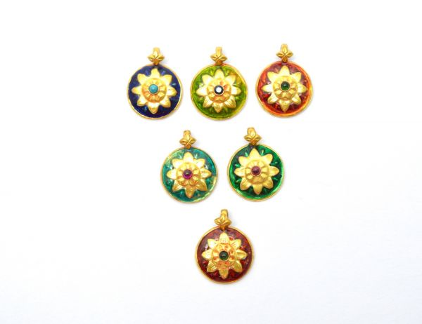Handmade 18k Gold Enamel Round Pendent in Fine Shiny Finish. 19X15X3.5 mm Amazingly Handcrafted Charm in 18k Gold Enamel Bead,Sold By 1pcs