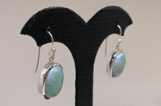 925 Sterling Silver Earring With Natural Larimar Stone