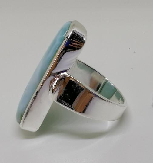 Bohemian, 925 Sterling Silver, Natural Larimar ,Larimar Sterling, Silver Ring, Handmade , Ring Sterling Silver