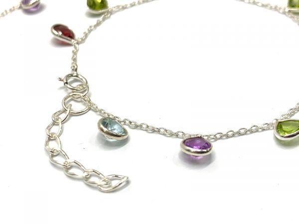 925 Sterling Silver Bracelet in Multi Stones With 4mm Size - 17cm+3cm Silver Bracelet