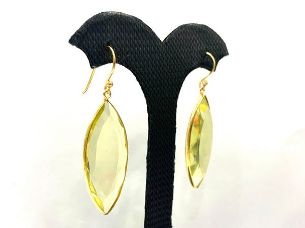 Amazing 925 Sterling Silver Earring With Natural Lemon Quartz in 5.1 Cm, Sold By 1 Pair