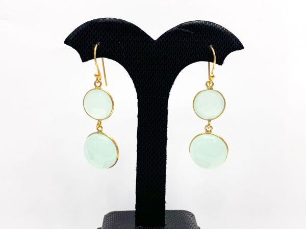 925 Sterling Silver Earring With Emerald,Sapphire,Turquoise, Handmade Silver Bezel Earring In Gold Plating 4.8 Cm, Sold By 1 Pair, TJ0156