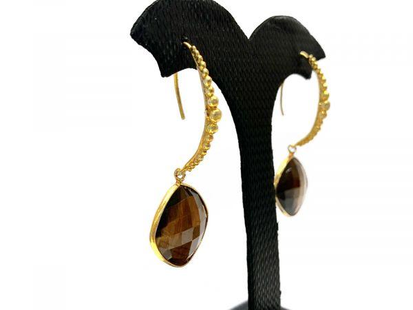 Amazing Dangle Earring With Natural Labradorite, Tiger Eye Ear Wire Earring 4.6 Cm. long, 925 Sterling Silver Bezel Earring,TJ0157