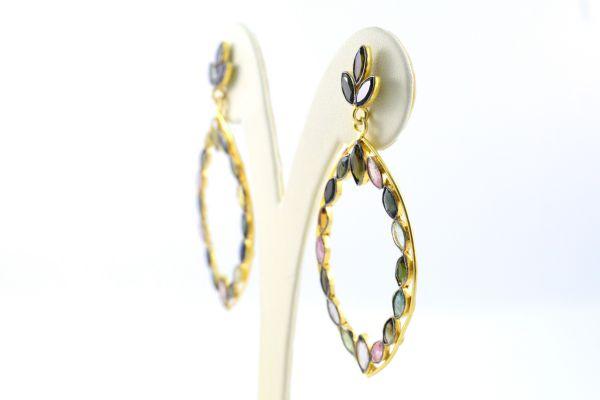 925 Sterling Earring Silver Earring With Multi Tourmaline,Chandelier Earring In Natural Tourmaline Earring 6.3 Cm. Long.Sold By1Pair, TJ0170