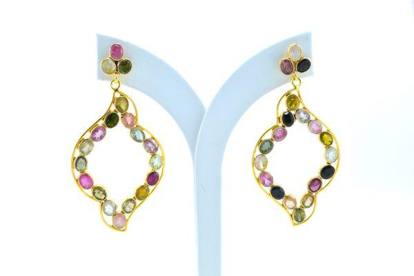 Beautiful 925 Sterling Earring Silver Earring With Multi Tourmaline,Chandelier Earring In Natural Tourmaline Earring 4.1Cm. Long.Sold By1Pai