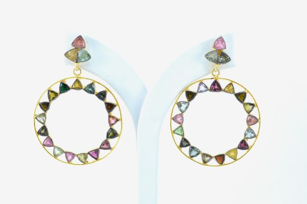 Beautiful 925 Sterling Earring Silver Earring With Multi Tourmaline, Earring In Natural Tourmaline Earring 4.5Cm. Long.Sold By 1 Pair,TJ0188